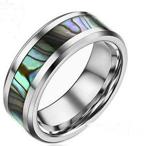 Abalone shell stainless steel size 8 ring